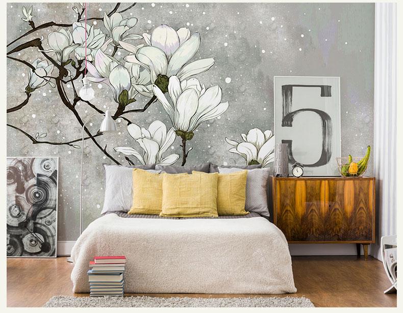 תמונת טפט קיר פרחים לבנים