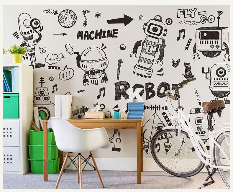 תמונת טפט קיר רובוטים לחדרי ילדים