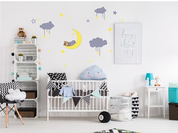 מדבקת קיר דובי וכוכבים לחדרי ילדים