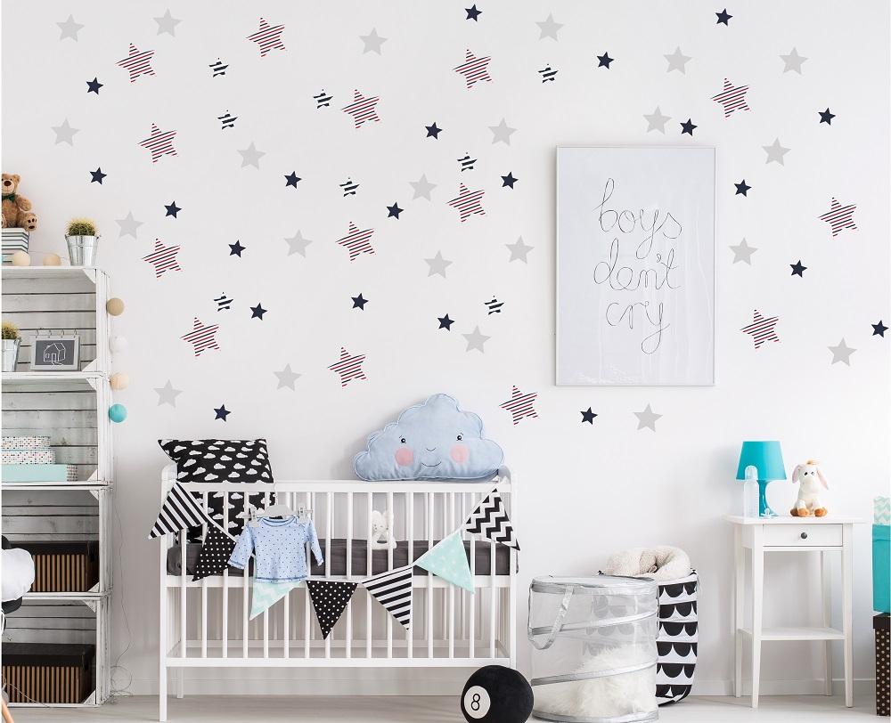 מדבקת קיר כוכבים מעוצבים לחדרי ילדים ותינוקות