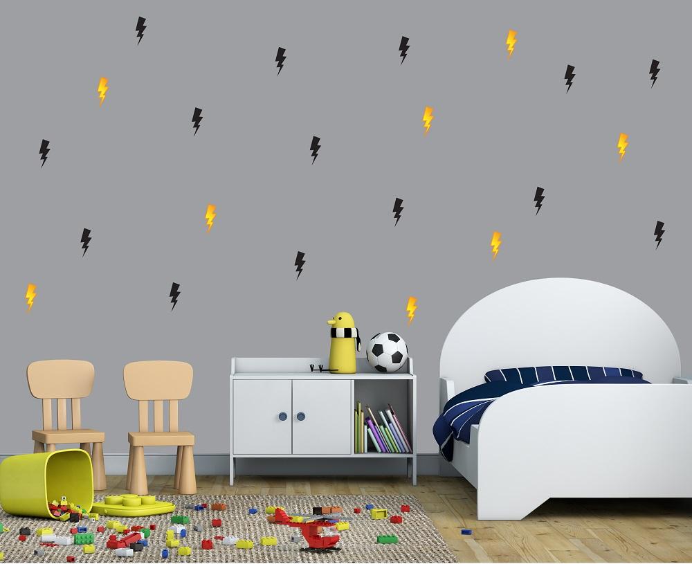 מדבקות קיר ברקים בתפזורת לחדרי ילדים