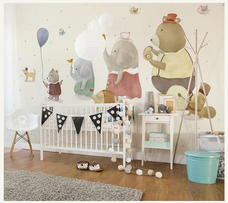 תמונת טפט קיר פילים ודובים לחדרי ילדים