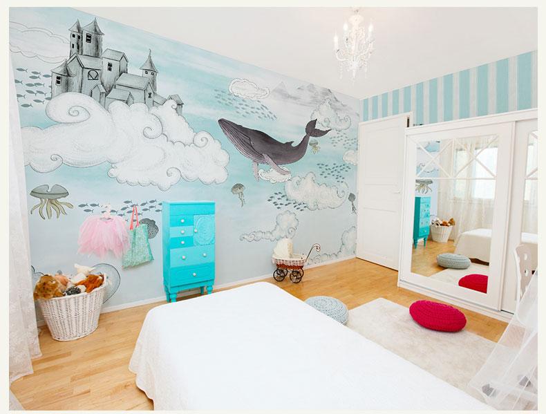 תמונת טפט קיר מתחת למים לחדרי ילדים
