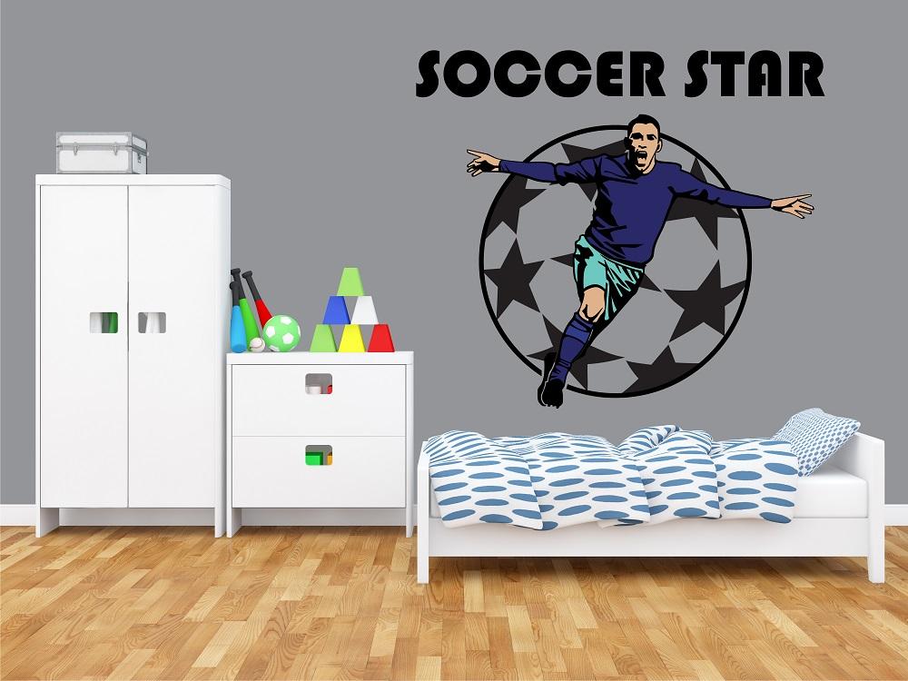 מדבקת קיר כוכב כדורגל לחדרי ילדים