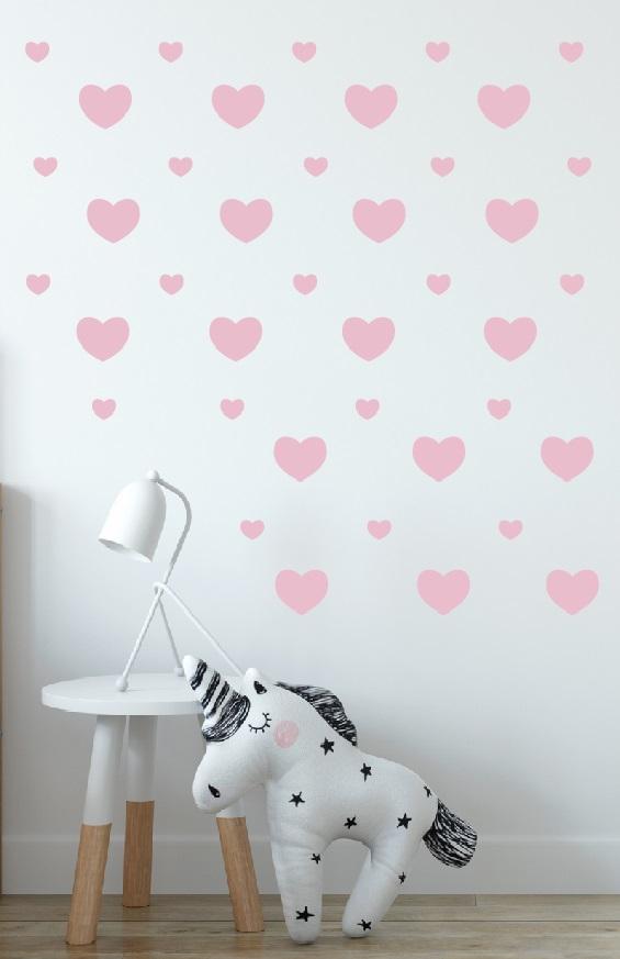 מדבקות קיר לבבות לחדרי ילדים בצבעים לבחירה