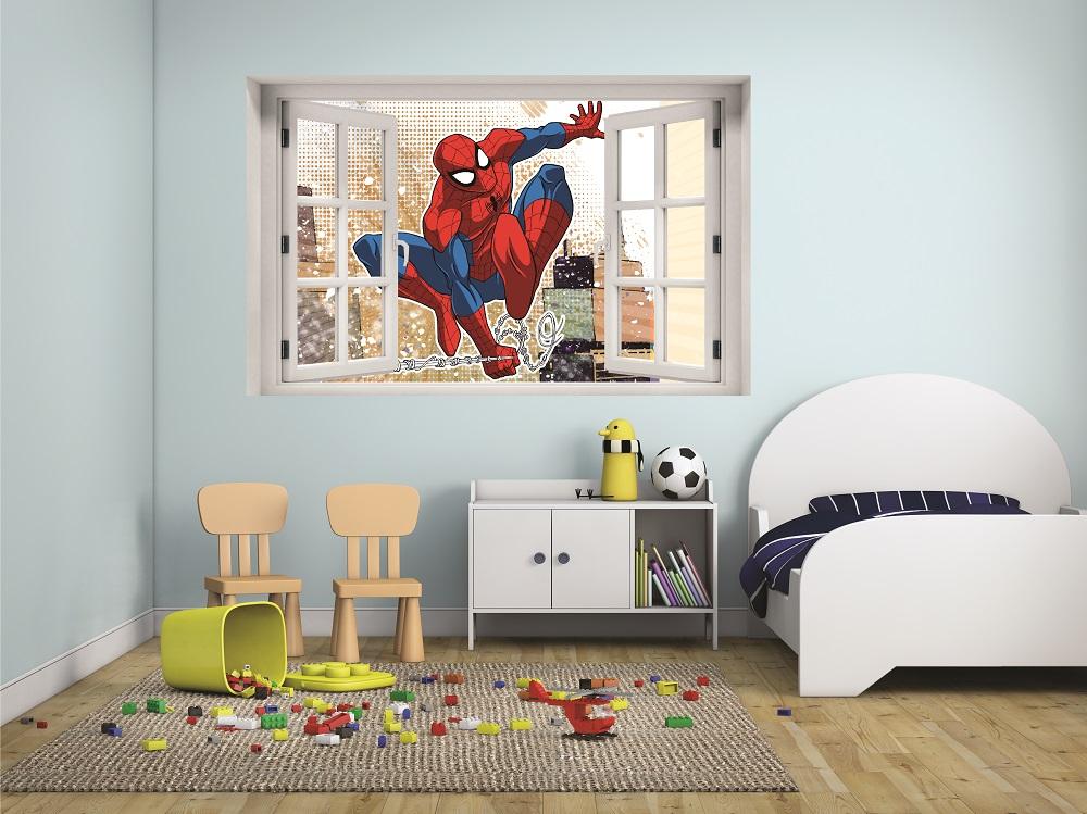 מדבקת קיר חלון תלת מימד ספיידרמן 2