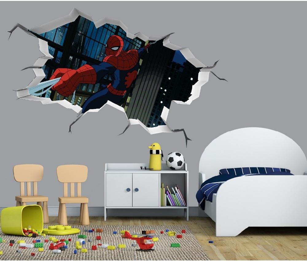 מדבקת קיר תלת מימד קיר שבור ספיידרמן