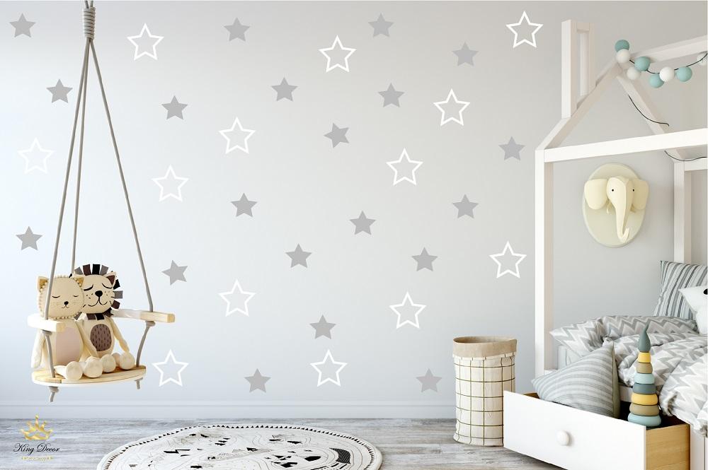 מדבקות קיר כוכבים בתפזורת לחדרי ילדים