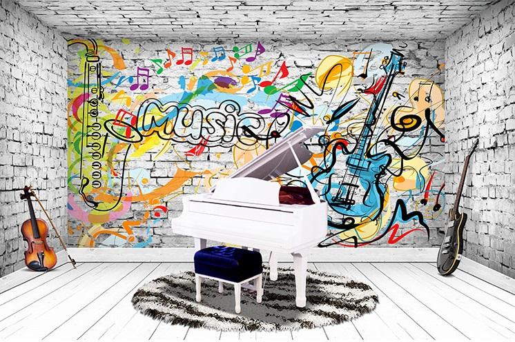 תמונת טפט קיר מוסיקה תלת מימד