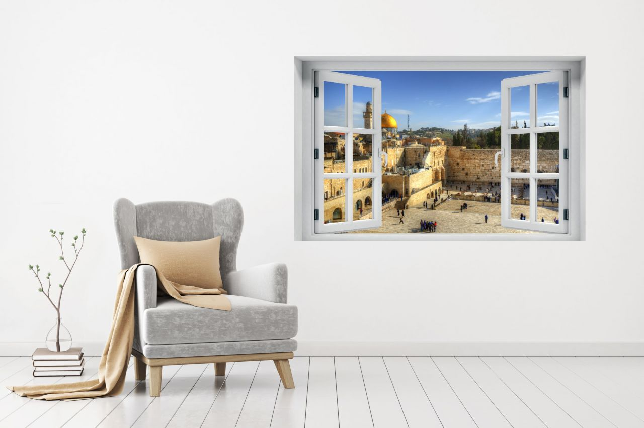 מדבקת קיר חלון נוף ירושלים הכותל המערבי