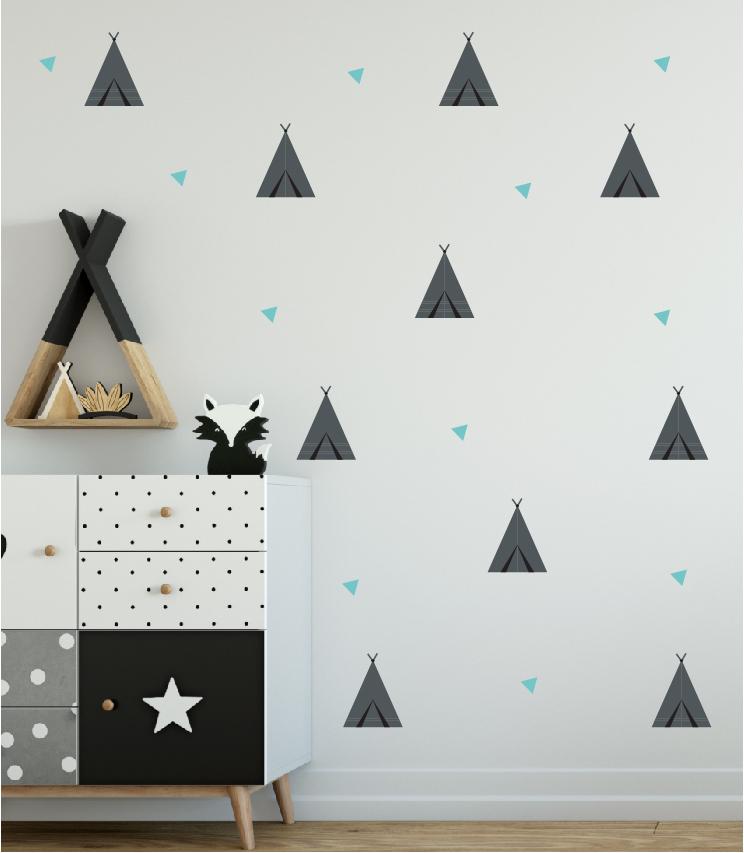 מדבקת קיר אוהלים בתפזורת לחדרי ילדים