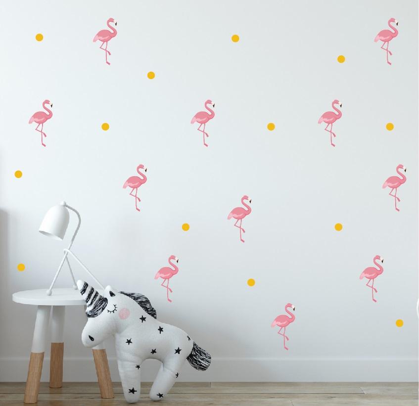 מדבקת קיר פלמנגו בתפזורת לחדרי ילדים