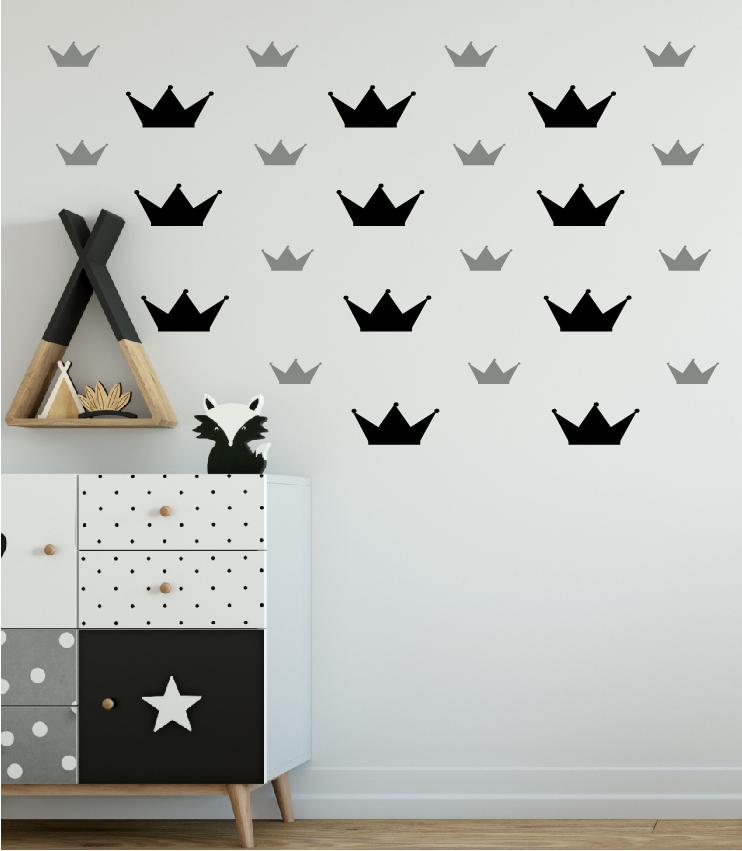 מדבקת קיר כתרים בשניי גדלים שונים לחדרי ילדים