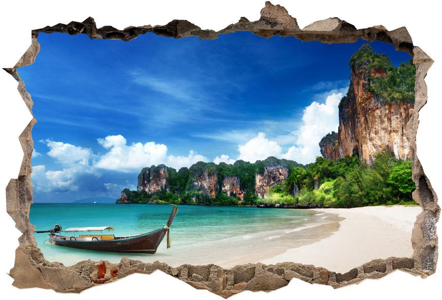 מדבקת קיר -קיר שבור נוף תאילנד