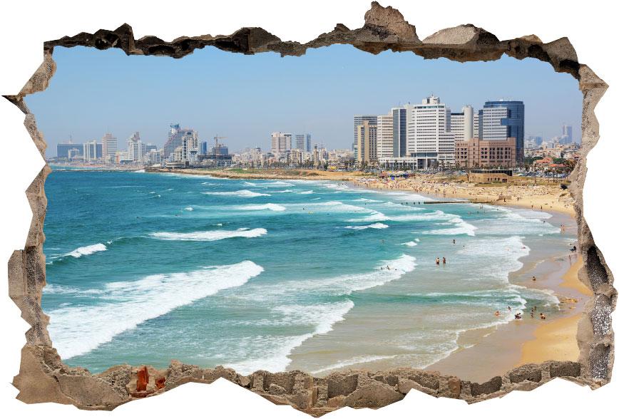 מדבקת קיר-קיר שבור נוף תל אביב