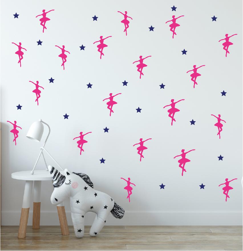 מדבקות קיר רקדניות בתפזורת לחדרי ילדים