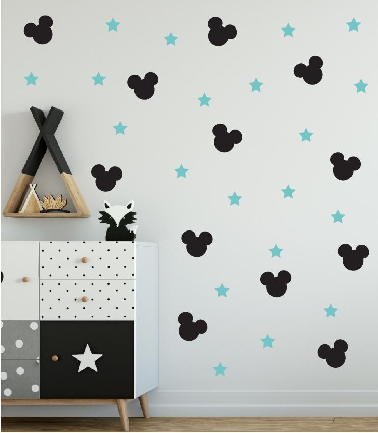 מדבקות קיר מיקי מאוס בתפזורת לחדרי ילדים