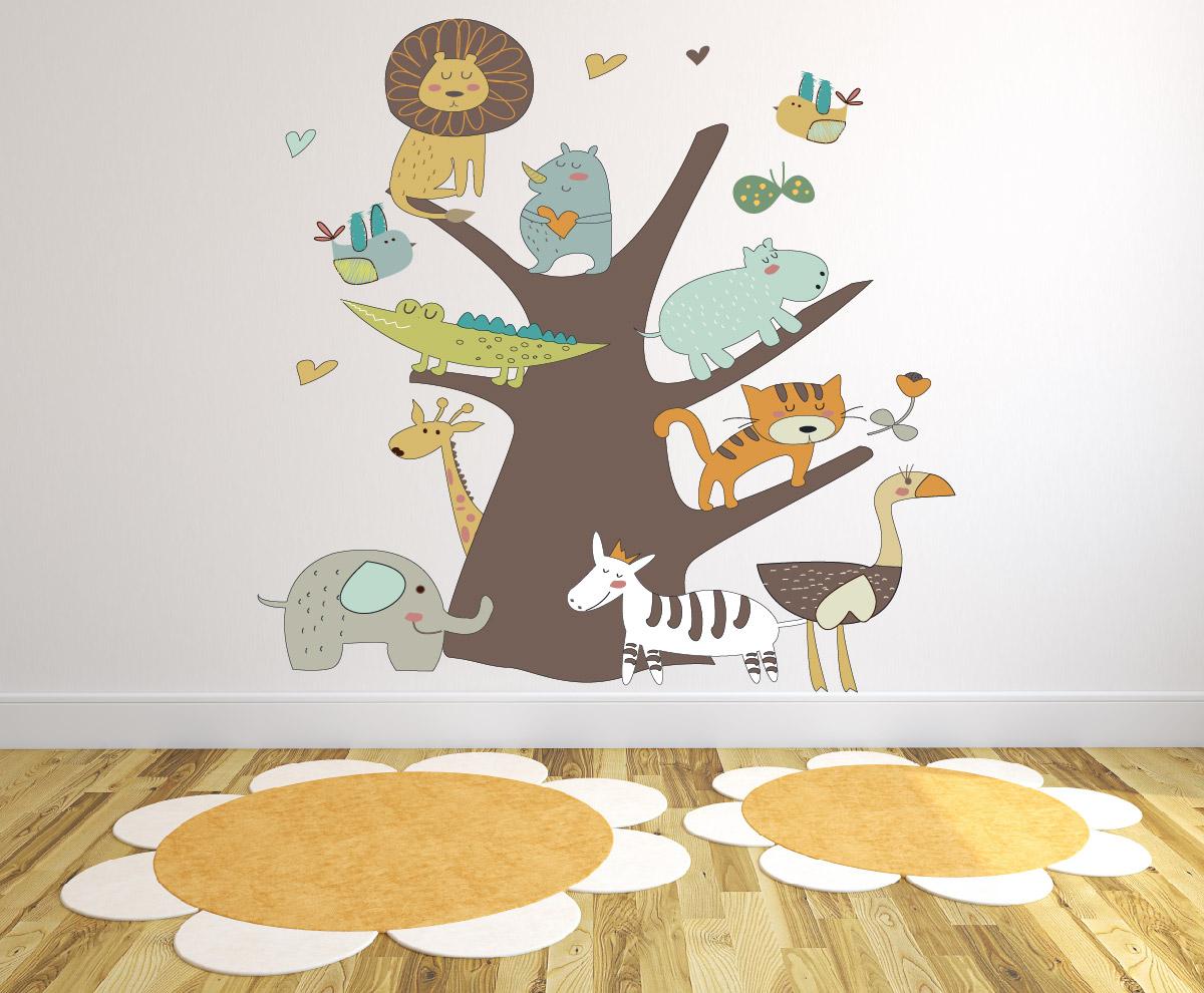 מדבקת קיר עץ החיות