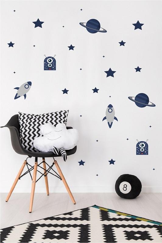 מדבקות קיר חלל לחדרי ילדים