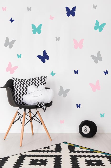 מדבקות קיר פרפרים צבעוניים