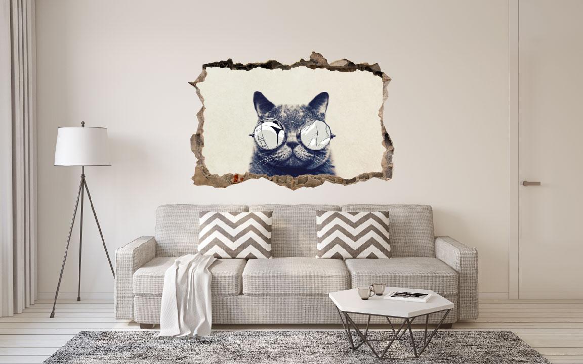 מדבקת קיר תלת מימד קיר שבור COOL CAT