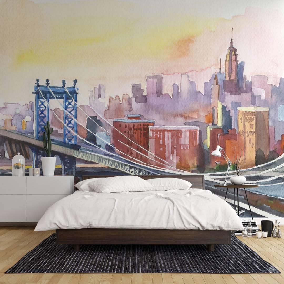 טפט ניו יורק BRIDGE VIEW בצבעי מים