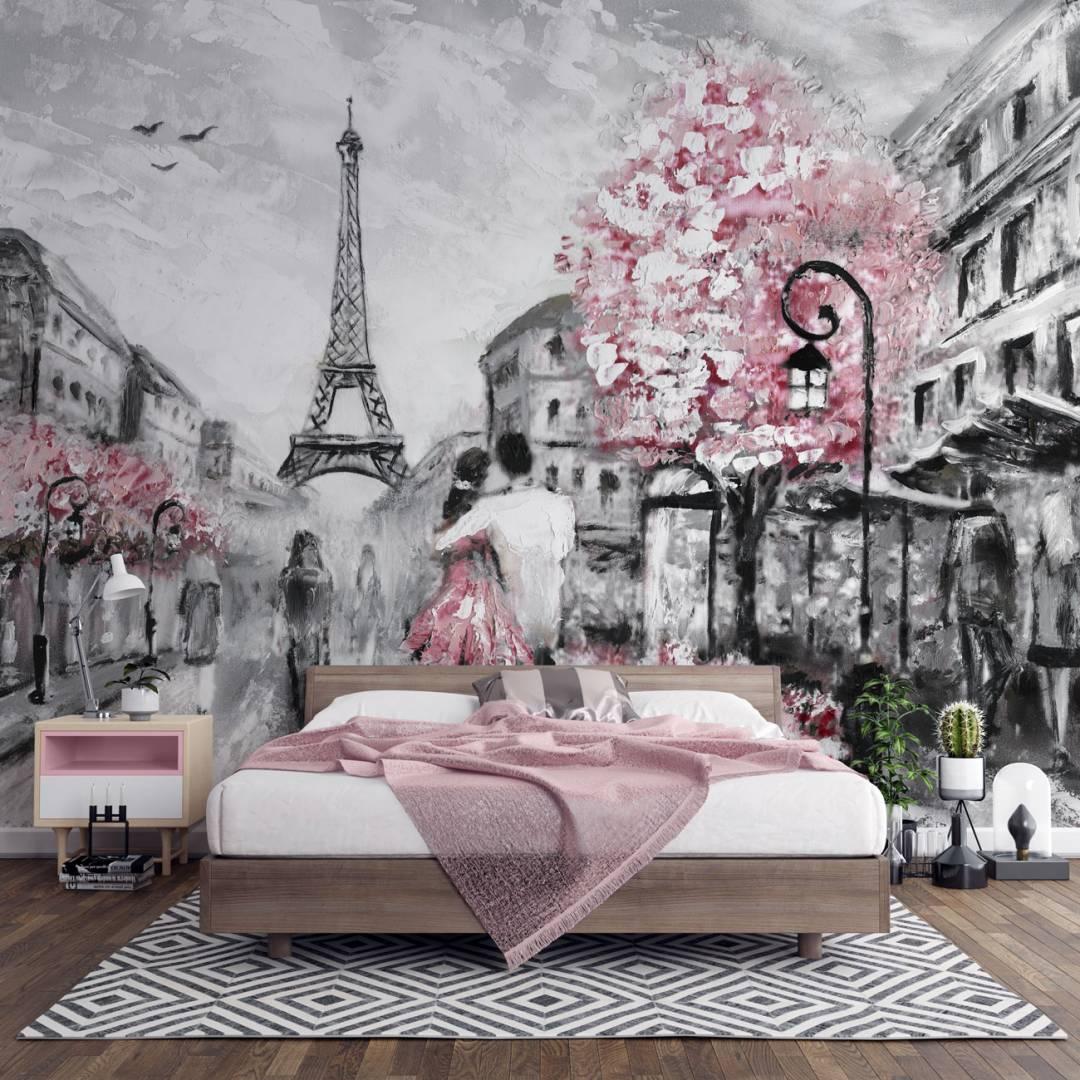 טפט אהבה בפריז בציור שמן