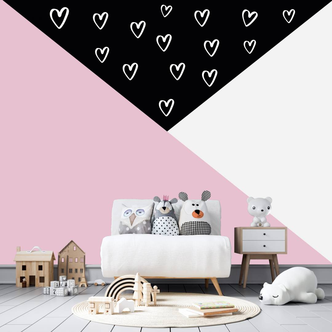 טפט המשולש הקסום לבבות לחדרי תינוקות וילדים