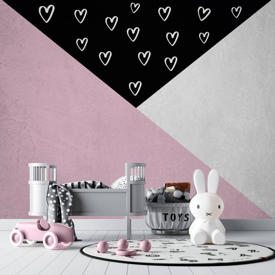 טפט המשולש הקסום לבבות קיר בטון לחדרי תינוקות וילדים