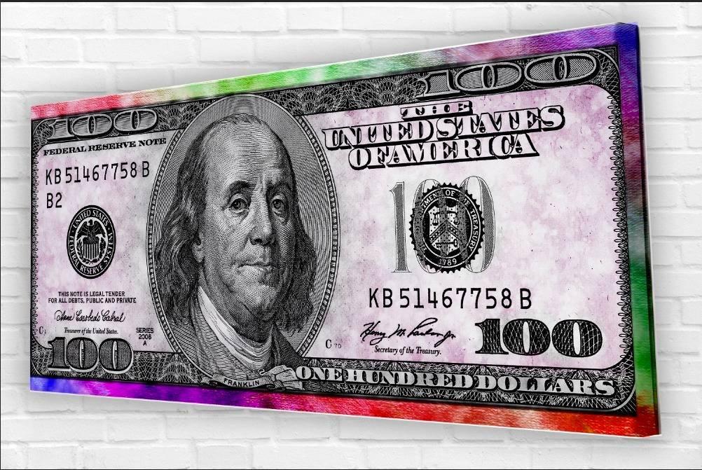 תמונת קנבס פינק 100 דולר