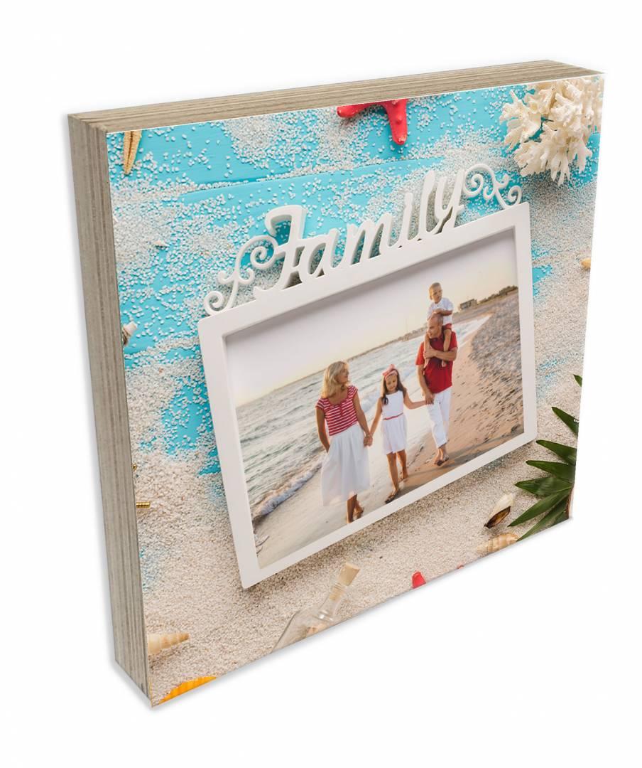 קינג פוטובלוק-בלוק עץ תמונה דגם משפחה על החוף
