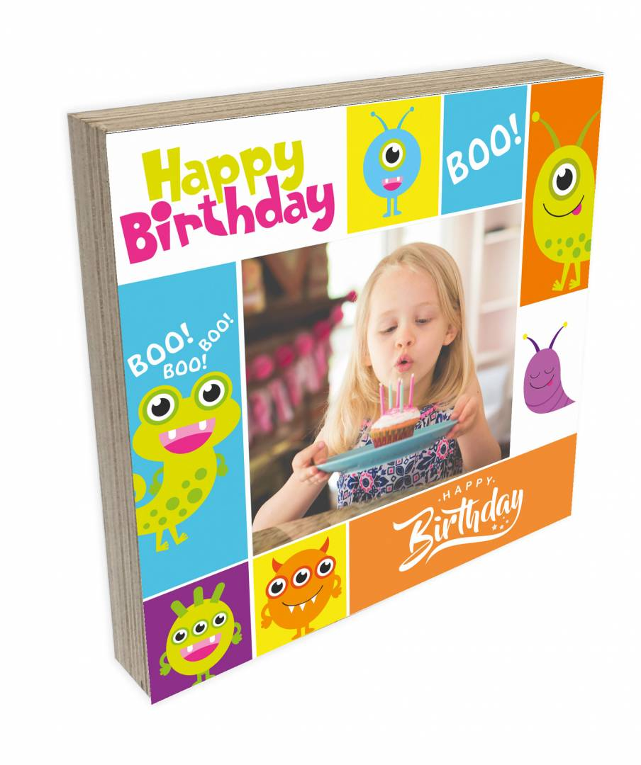 קינג פוטובלוק-בלוק עץ יום הולדת שמח לילדים