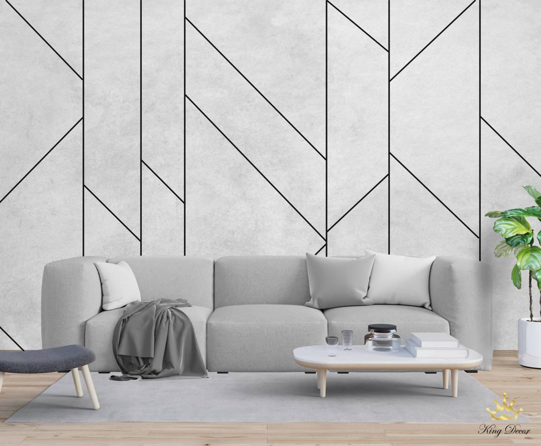 טפט גאומטרי בטון אפור וקווים שחורים  דגם HIGHLINE